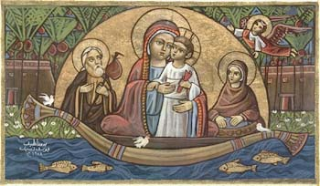 The_Holy_Family_on_the_Nile___Coptic_Icon