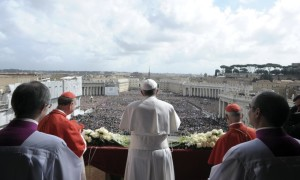 "Pope Francis speaks during his ""Urbi et Orbi"" address from a balcony in St. Peter's Square at the Vatican"