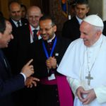 Egyptian Presidency shows Egyptian President Abdel Fattah al-Sisi (R) sharing a laugh with Pope Francis at the Presidential Palace in Cairo, Egypt, 28 April 2017. Pope Francis is on a two-day visit to Egypt and will meet with Egyptian President Abdel Fattah al-Sisi, head of the Coptic Orthodox Church Pope Tawadros II, and Grand Imam of al-Azhar Ahmed al-Tayeb. As well as holding a mass in the Air Defense Stadium north-east of Cairo.  EPA/EGYPTIAN PRESIDENCY HANDOUT  HANDOUT EDITORIAL USE ONLY/NO SALES