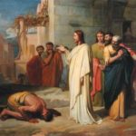 XIR222724 Jesus Healing the Leper, 1864 (oil on canvas) by Doze, Jean-Marie Melchior (1827-1913) oil on canvas 105x135 Musee des Beaux-Arts, Nimes, France Giraudon French, out of copyright